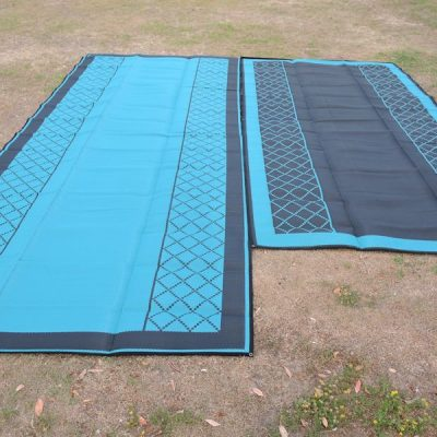 Annex Mat - Teal/Black Crisscross Plain Centre