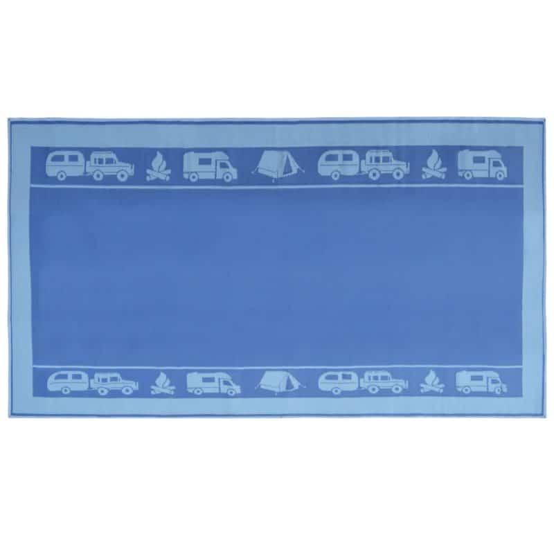 Grey Camping Mat - Navy Blue/Grey Patterned